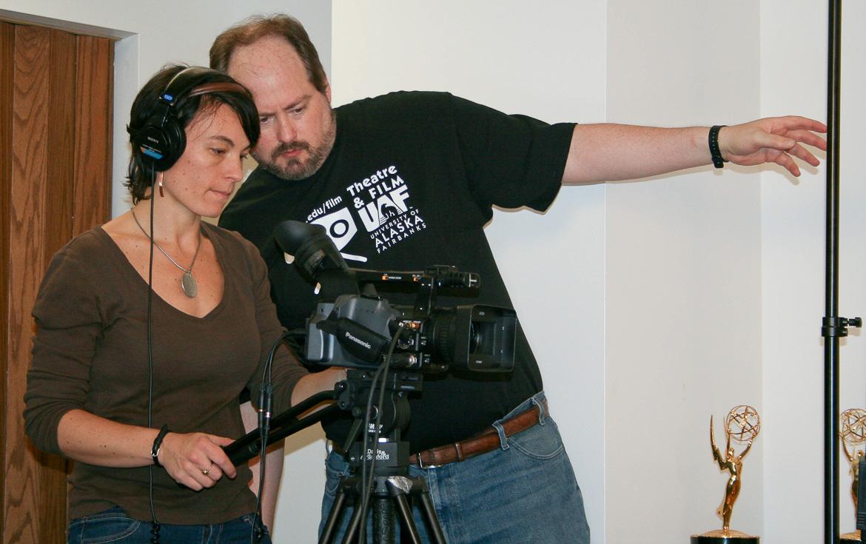 "Behind the scenes photo of Kade Mendelowitz working on ""The Messenger""."